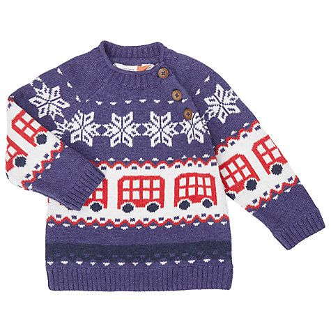Buy John Lewis Baby Fair Isle Bus Jumper, Blue/Multi Online at ...