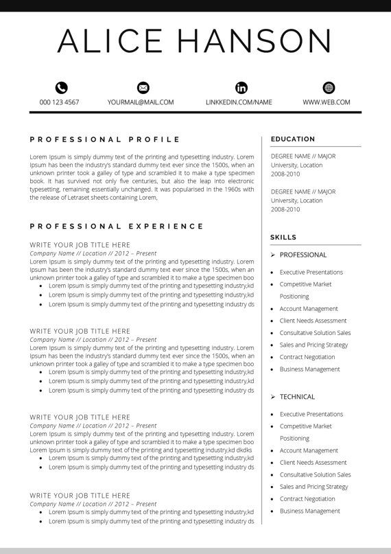 Resume Template   CV Template + Cover Letter for MS Word - purchasing resume