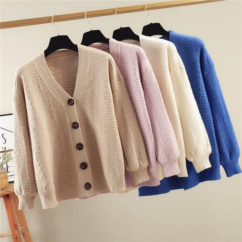 Ladies Autumn V Neck Knitted Tops Hollow Out  Single-Breasted Knitwear Blouse