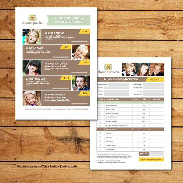 School Photos Pricing & Order Form Template | Preschool