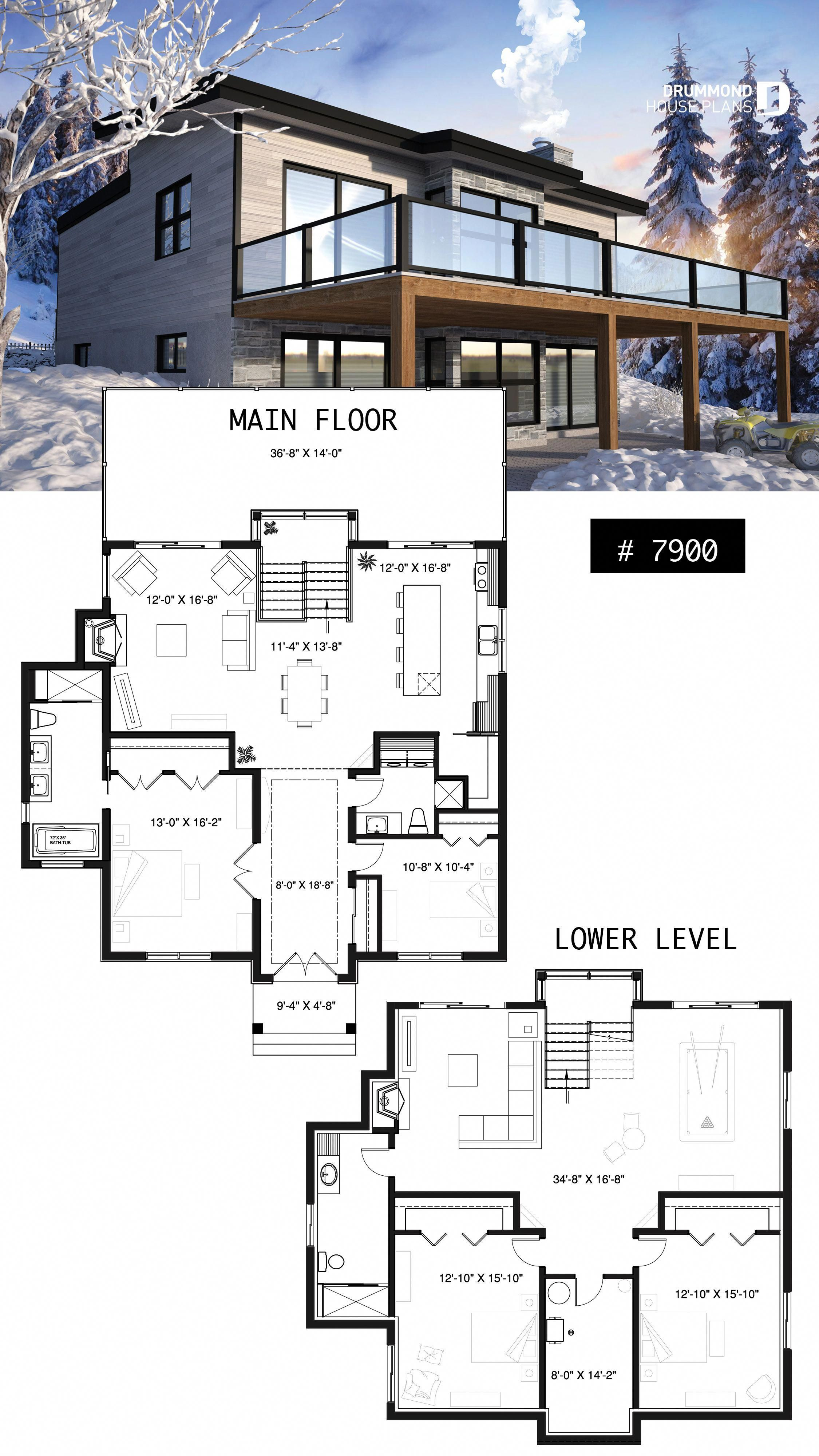 Modern Cottage House Plan With Finished Walkout Basement 4 Beds 3 Baths Large Rear Terrace 2 Firepl Basement House Plans Lake House Plans Beach House Plans