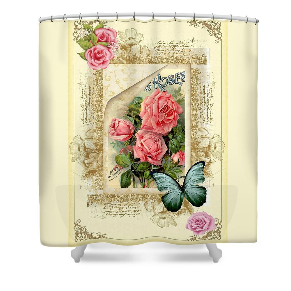 Vintage Look Roses And Butterfly Shower Curtain For Sale