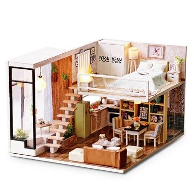 Photo of DIY Wooden Miniature Dollhouse with LED Light Sale, Price & …
