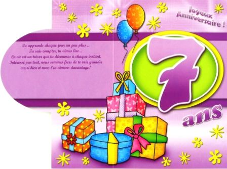 Carte Anniversaire Fille 7 Ans