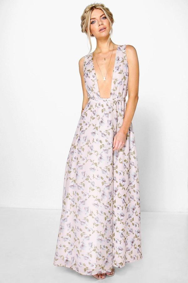 85c4d67430e boohoo Anouk Floral Chiffon Wrap Maxi Dress