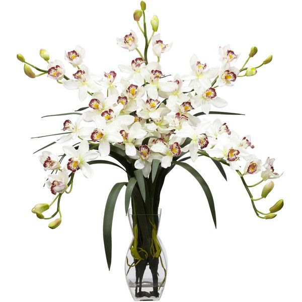 Nearly Natural Cymbidium Orchid Silk Flower Arrangement (315 BRL) ❤ liked on Polyvore featuring home, home decor, floral decor, silk flower bouquets, fake flower arrangement, orchid artificial flowers, faux flowers and fabric flowers
