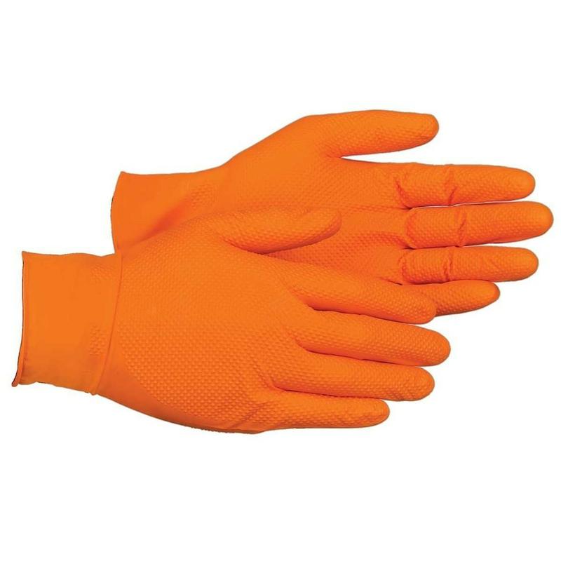 Orange Heavy Duty Nitrile Disposable Gloves for mechanics