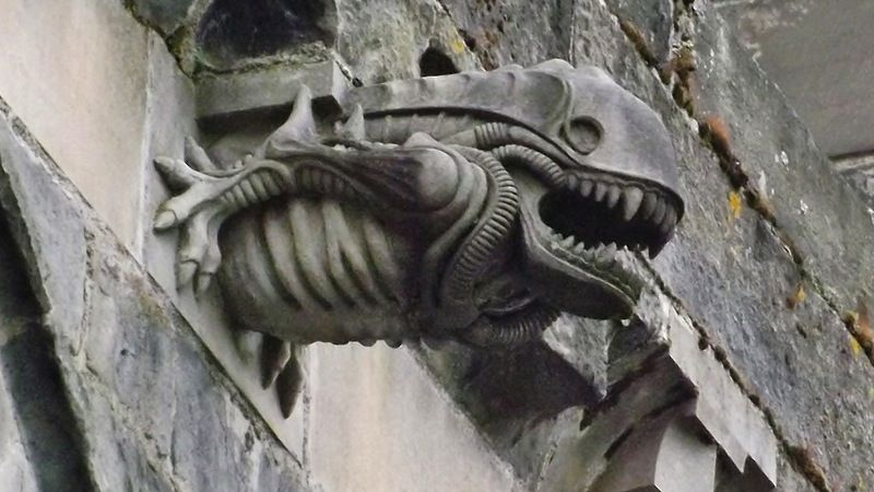 The traditional gargoyle is a horrendous creature who leers out of medieval church walls. But people have continued making gargoyles right up into the modern day, bringing science fictional flourishes to these fantasy creations.