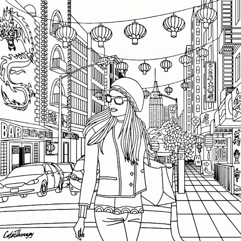 China Girl | Recolor | Coloring Pages for Adults | Pinterest