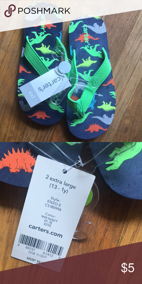 aac5bbca1 ✨Final Price✨NWT Carter s Dinosaur Flip Flops NWT Carter s Dinosaur Flip  Flops. Size XXL is equivalent to Toddler 13 or Boys 1.