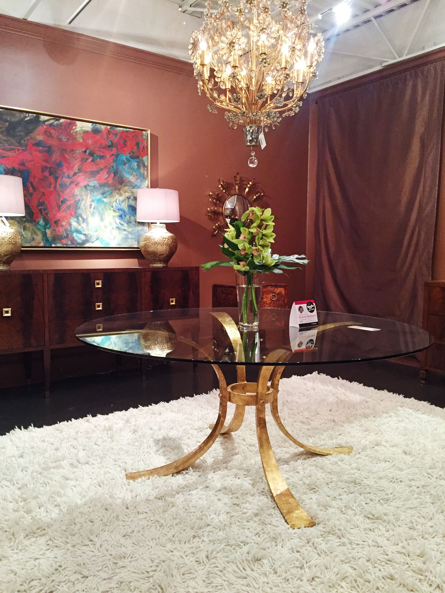 The Gilded Retro Dining Table Base By Modern History Is An Italian Reproduction With A Hammered