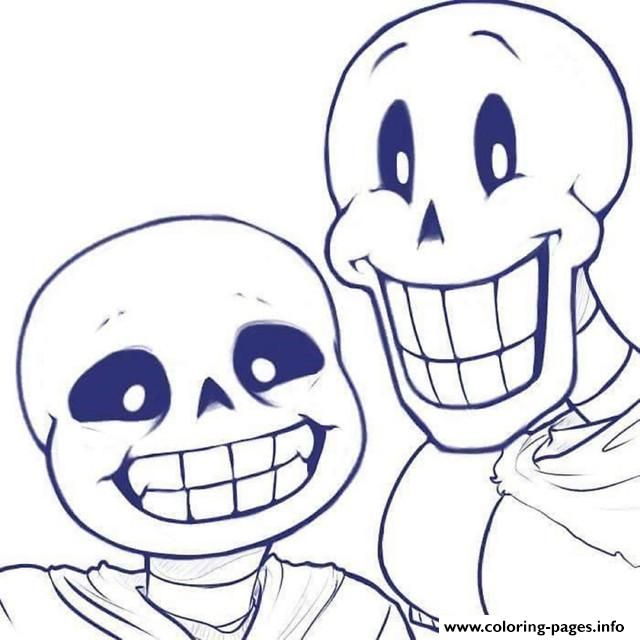 Print Sans And Papyrus Undertale Coloring Pages Coloring Pages