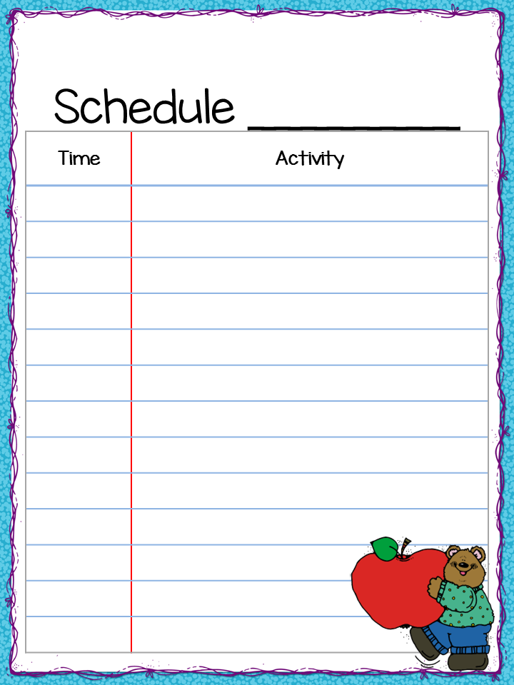 Class Schedule  Freebie  Back To School    School