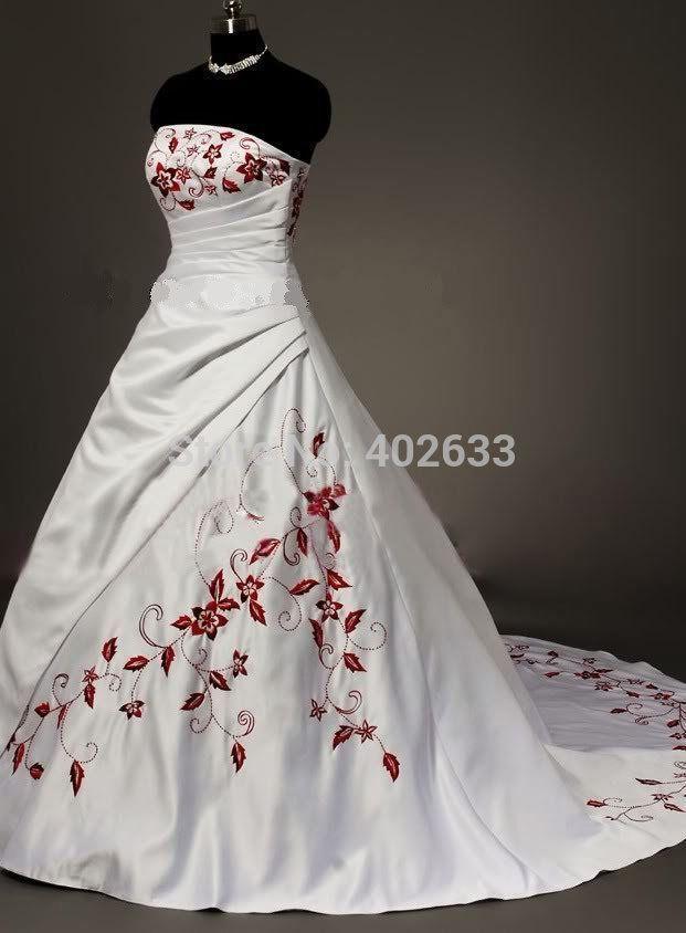 resultado de imagen para vestidos de novia blanco y rojo