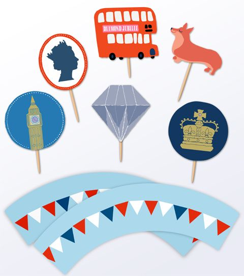 Diamond jubilee cupcake decorations printable crafts decoration diamond jubilee cupcake decorations yadclub Image collections