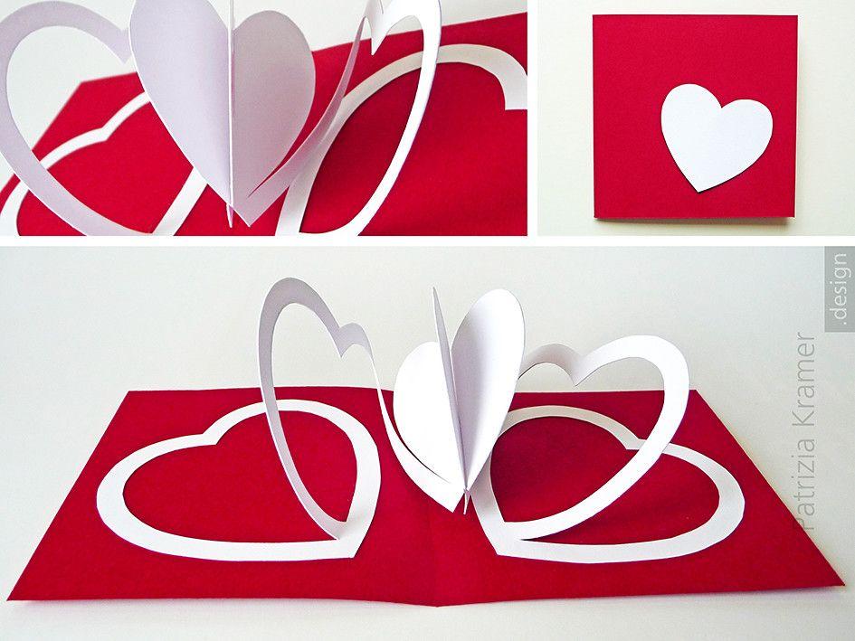 Pop Up Spiralherzen Spiral Heart Pop Up Valentine Cards Heart Pop Up Card Diy Pop Up Cards