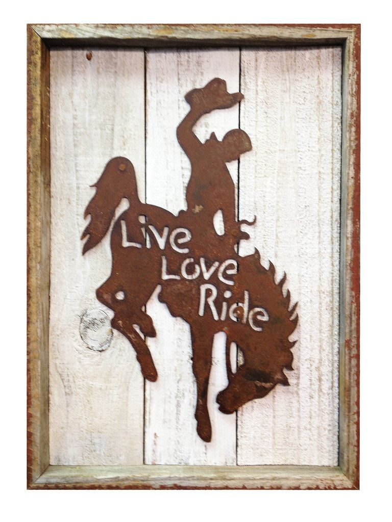 "Rustic Reclaimed Metal Bronco ""Live, Love, Ride"" Frame"