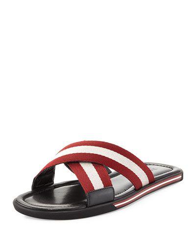 21d51b677af8e2 BALLY Bonks Men S Trainspotting-Stripe Fabric Slide Sandal