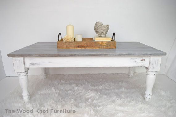 White And Gray Distressed Coffee Table By Thewoodknotfurniture