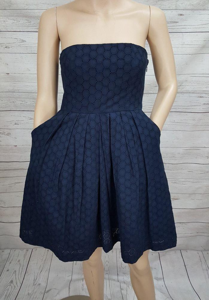 f9e49b5fdc1f Gap Eyelet Emily Navy Blue Fit & Flare Strapless Empire Waist Dress Cotton  0 XS #Gap #EmpireWaistSundressFitandFlareTeaDress #Casual