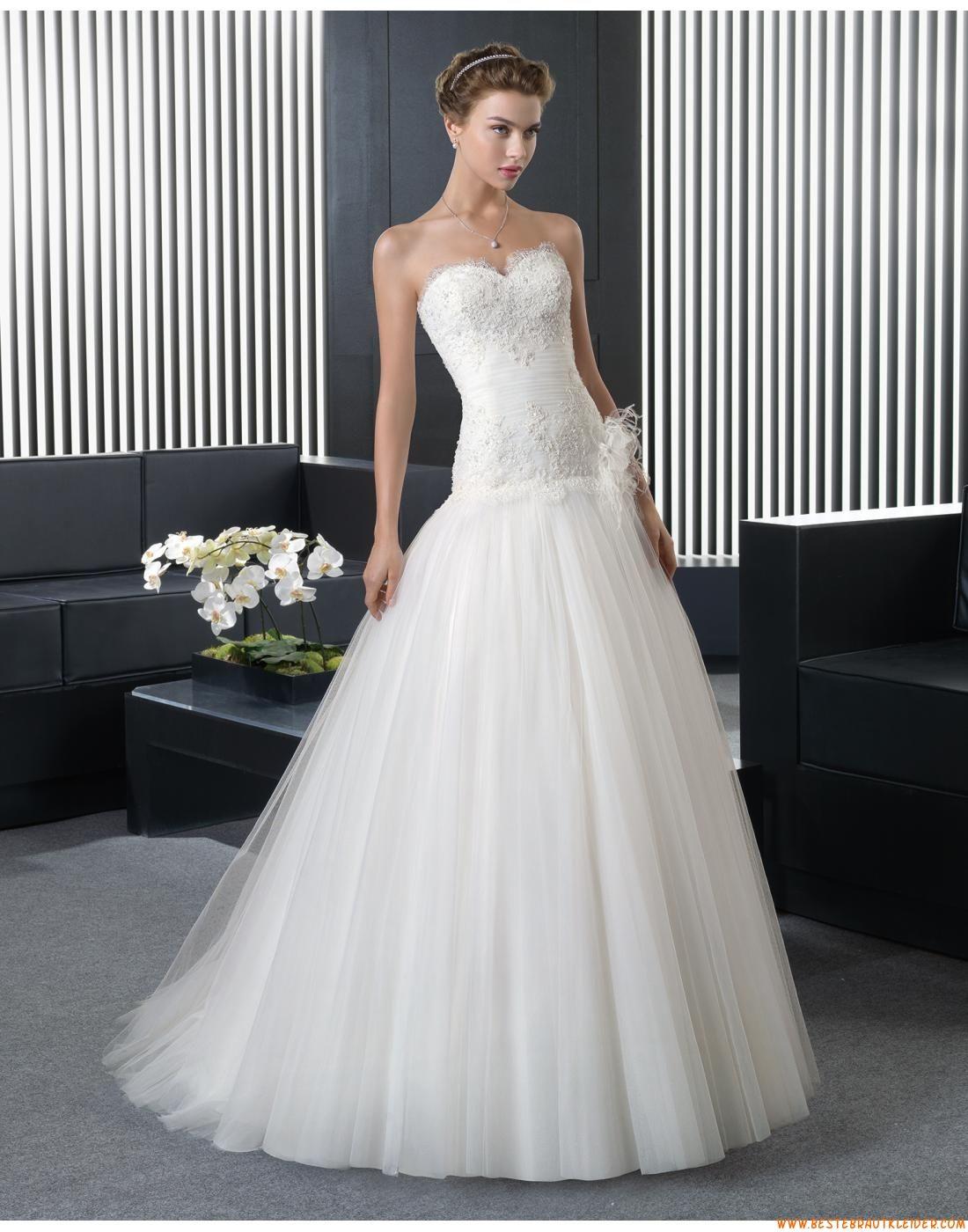 2015 A-linie Süße Romantische Brautkleider aus Softnetz mit ...
