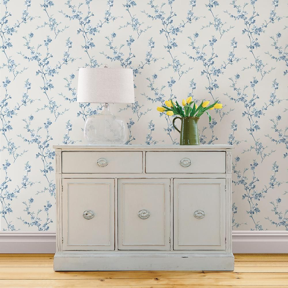 Cherry Blossom Light Blue Trail Wallpaper Sample