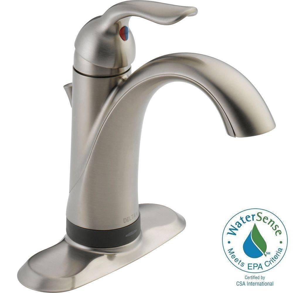 Delta Lahara Single Hole Single-Handle Bathroom Faucet in Stainless ...