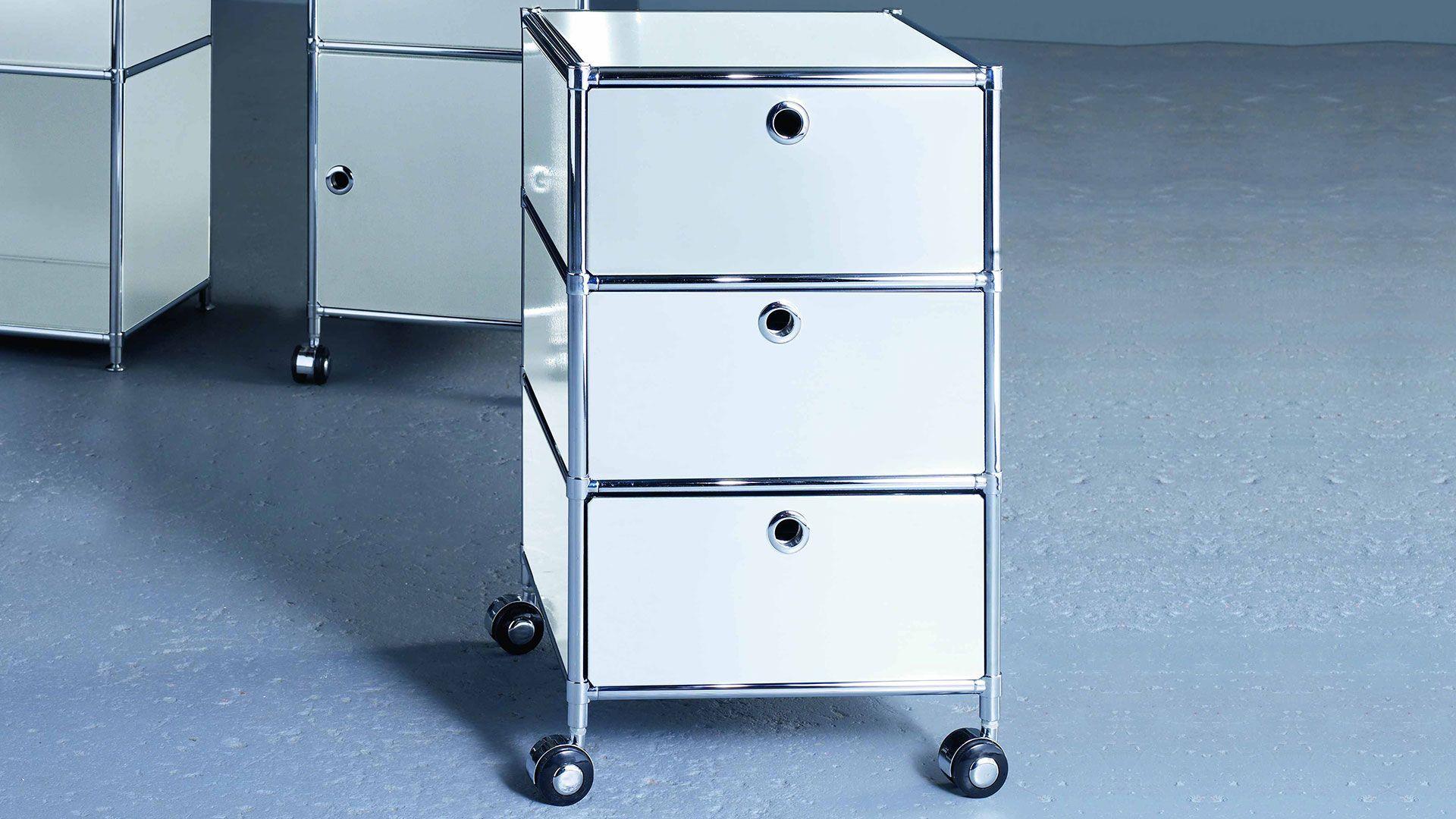 Metall Rollcontainer in kleiner Ausführung mit 3 Metall Schubladen ...