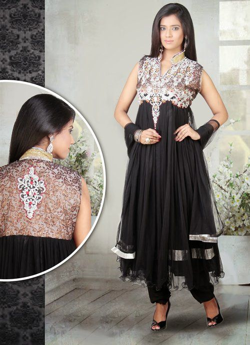 Black embroidered festival anarkali suit in Net fabric.