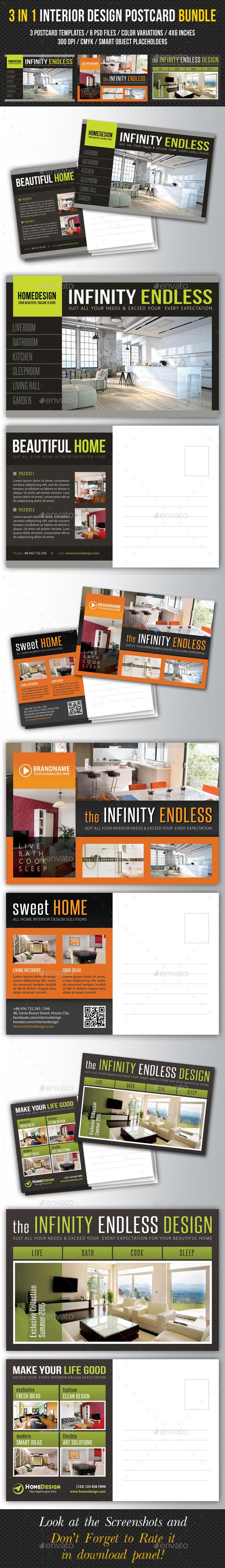 3 in 1 Interior Design Postcard Template Bundle 02 Postcard