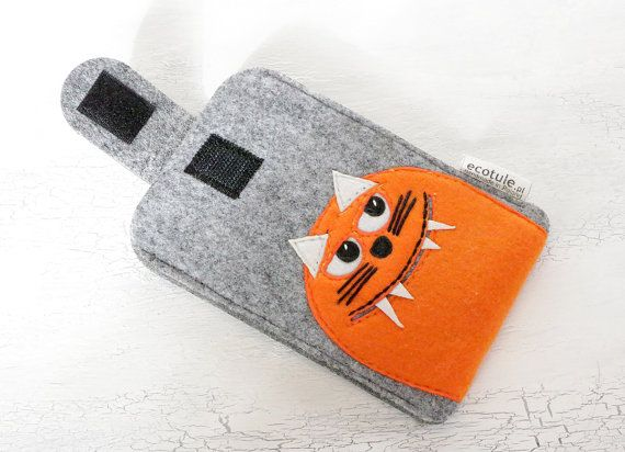 Phone Sleeve Smartphone Case Orange Monster Cat  Cover by ecotule
