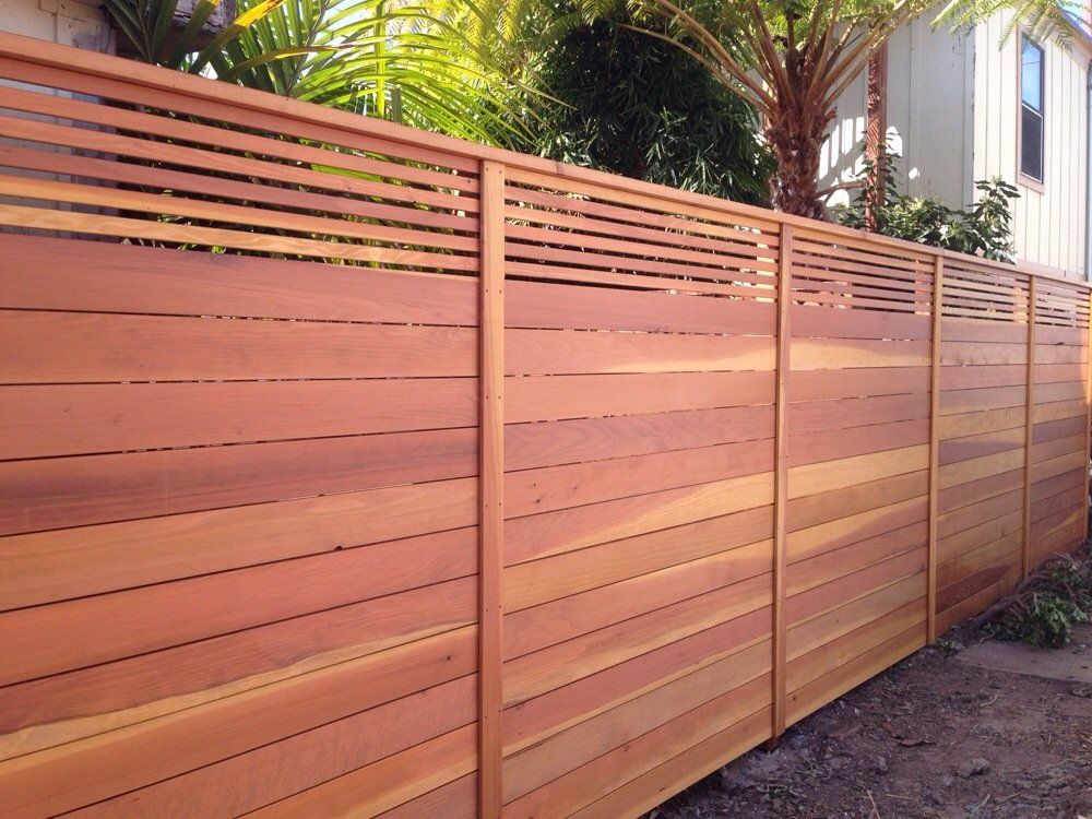 Aanco Fence Custom Horizontal Fence With Picket Accent Top Stained Natural Spring Valley