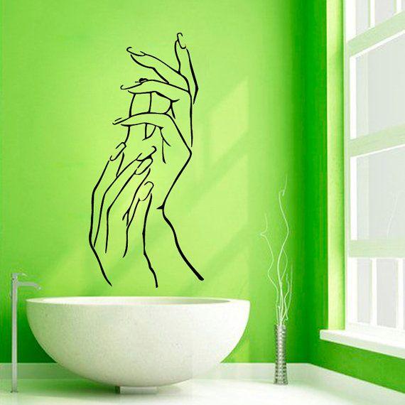 Manicure Wall Decals Girl Hands Spa Decor Nails Beauty Salon Bath ...