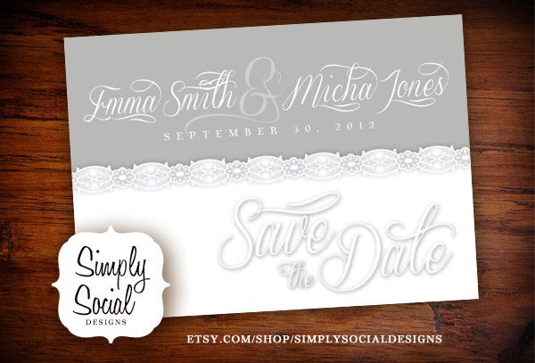 Grey Lace Save the Date.