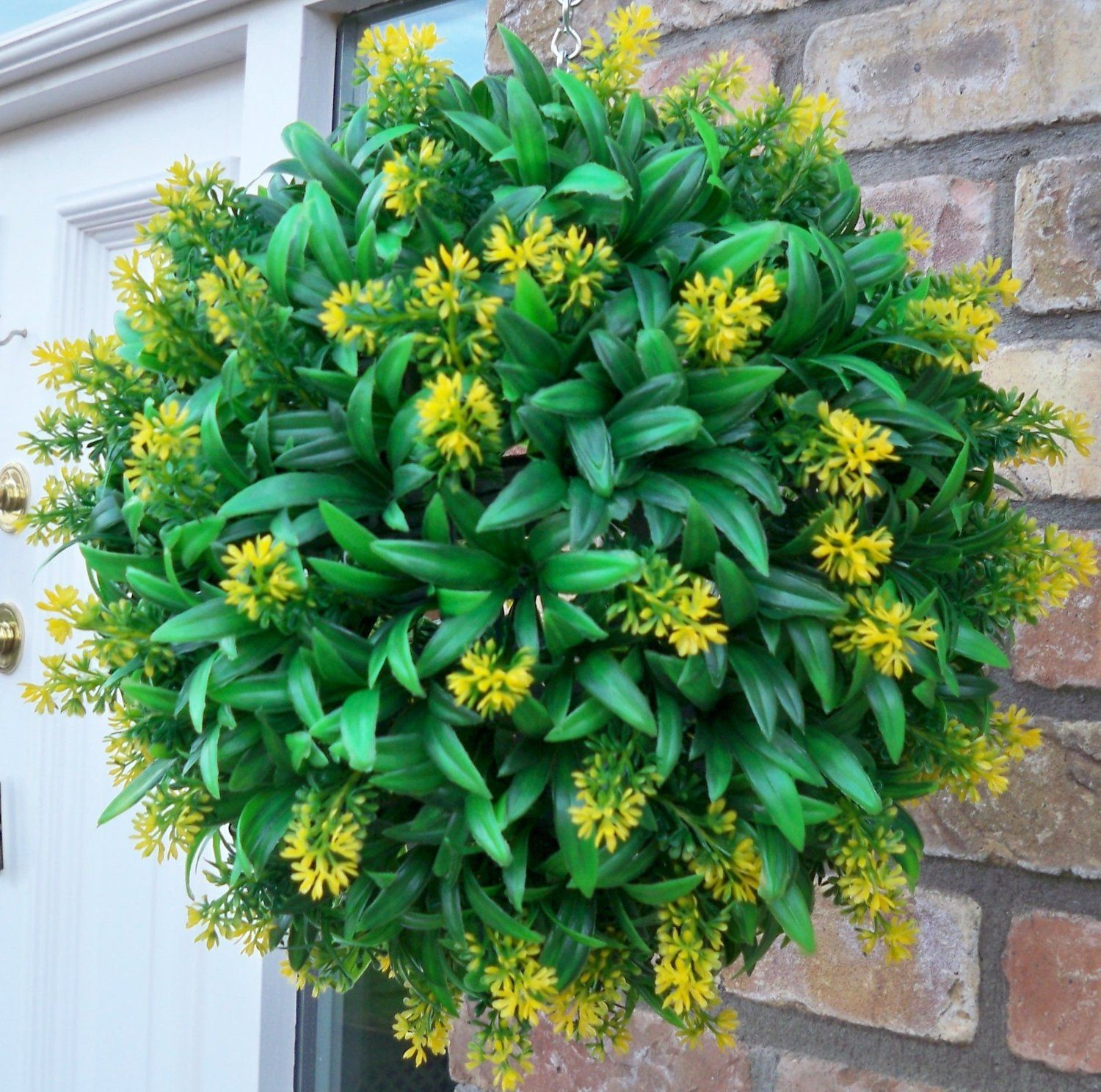 Best Artificial 30cm Yellow Flower Ball Lush Long Leaf Topiary Grass