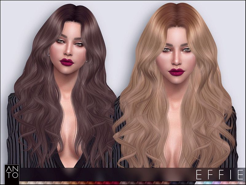 27 Colours Found In Tsr Category Sims 4 Female Hairstyles In 2020 Sims Hair Sims 4 Long Hair Styles