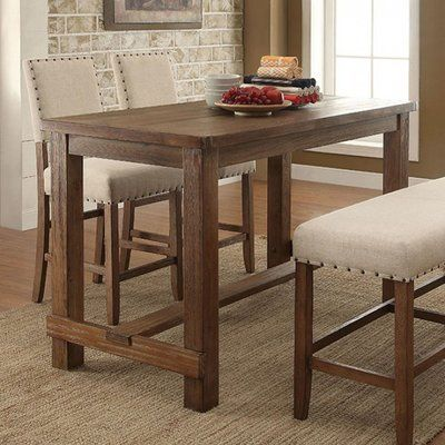 Alcott Hill Leahy Transitional Counter Height Solid Wood Dining Table Counter Height Dining Table Dining Table In Kitchen Counter Height Dining Sets