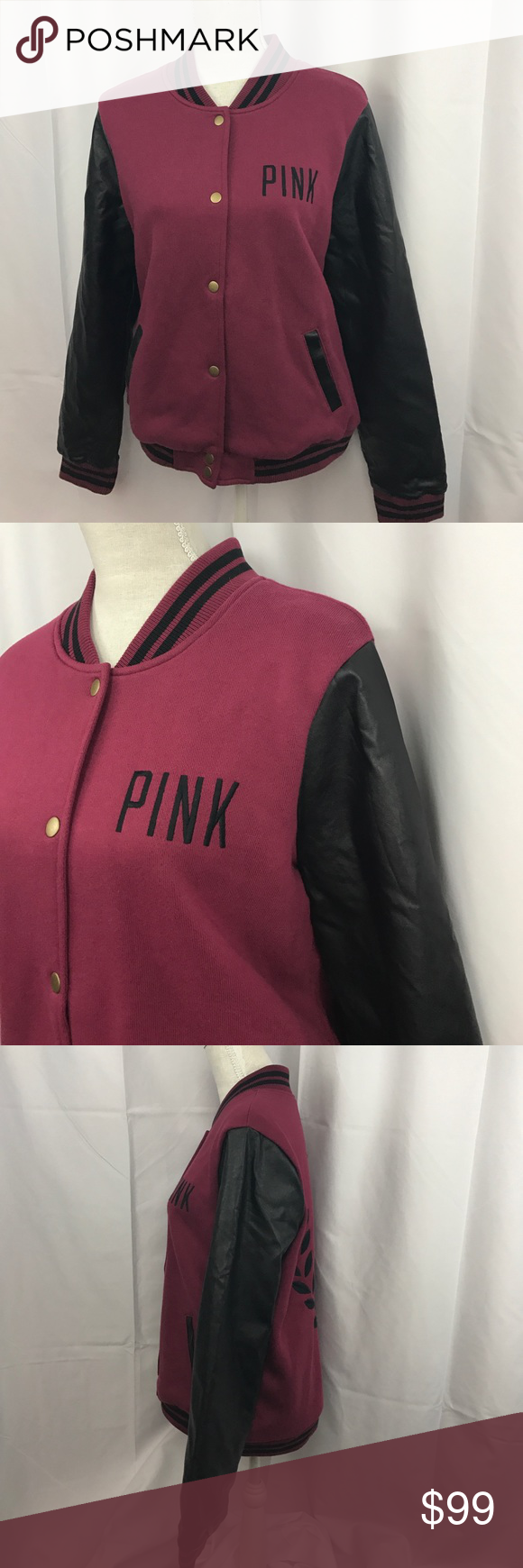 NWT PINK Victoria's Secret szL rare bomber jacket NWT PINK Victoria's Secret szL rare bomber jacket in burgandy w/faux leather sleeves...embroidered back...lined w/a soft satiny material... PINK Victoria's Secret Jackets & Coats