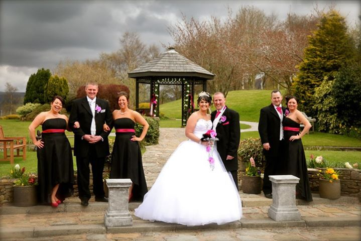 A Bridal Party in front of our Abbey Gazebo