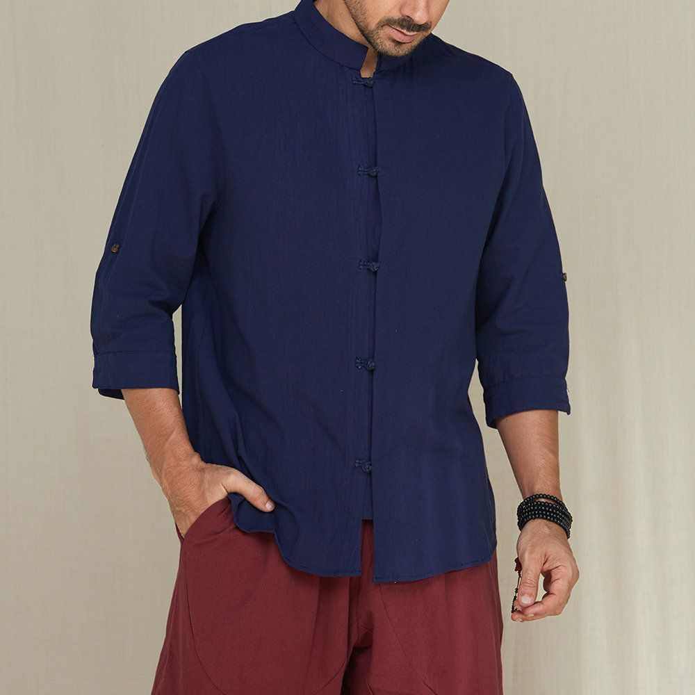 Photo of Mens Casual Pure Color Thin Loose Rolled Sleeve Irregular He…