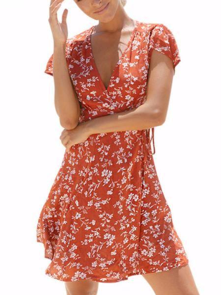 9379e6b9cc0c0 Sunkiss Cap Sleeve Mini Dress in 2019 | Fashion | Wrap dress floral ...