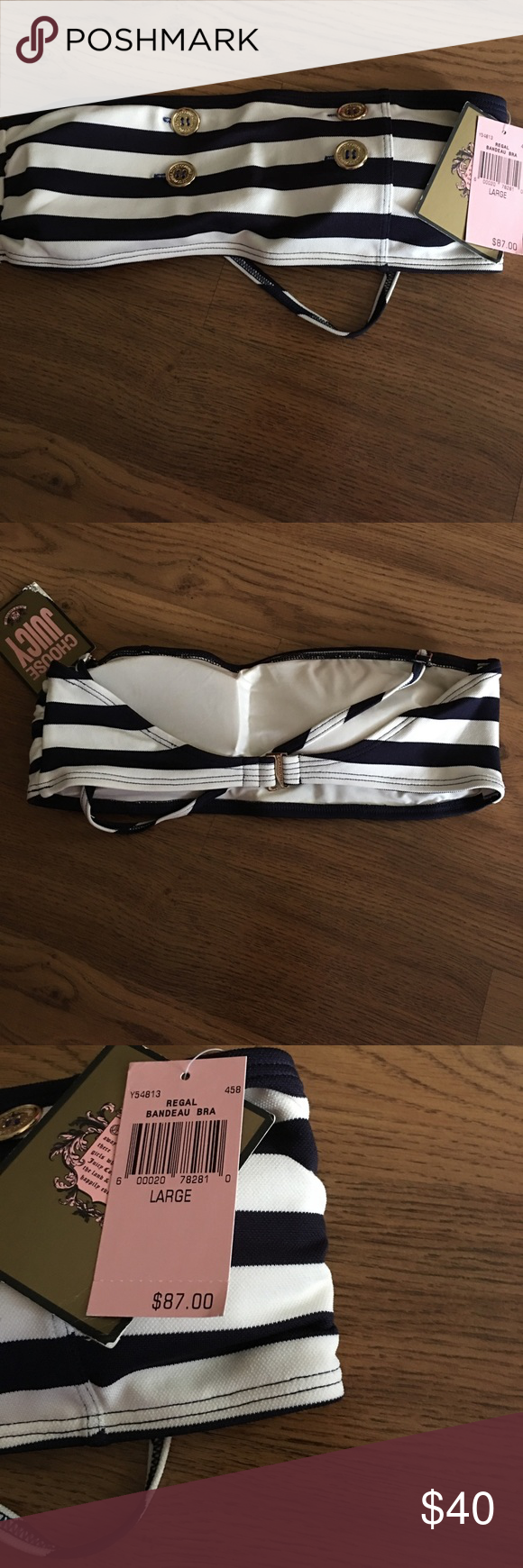 Juicy Couture Bandeau top -large Juicy Couture Bandeau bikini top. Large. NWT! Navy with off white and sailor buttons. ****Top only*** Juicy Couture Swim Bikinis
