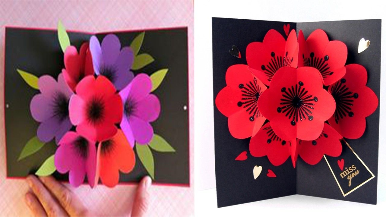 How To Make A Bouquet Flower Pop Up Card Diy 3d Flower Pop Up Valentines Day 2017 Pop Up Flower Cards Flower Cards Pop Up Flowers