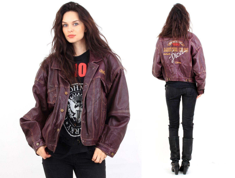 Leather jacket xl size - Vintage 80s Diesel Moto Cros Brown Leather Jacket Size L Xl By Ramaci On Etsy
