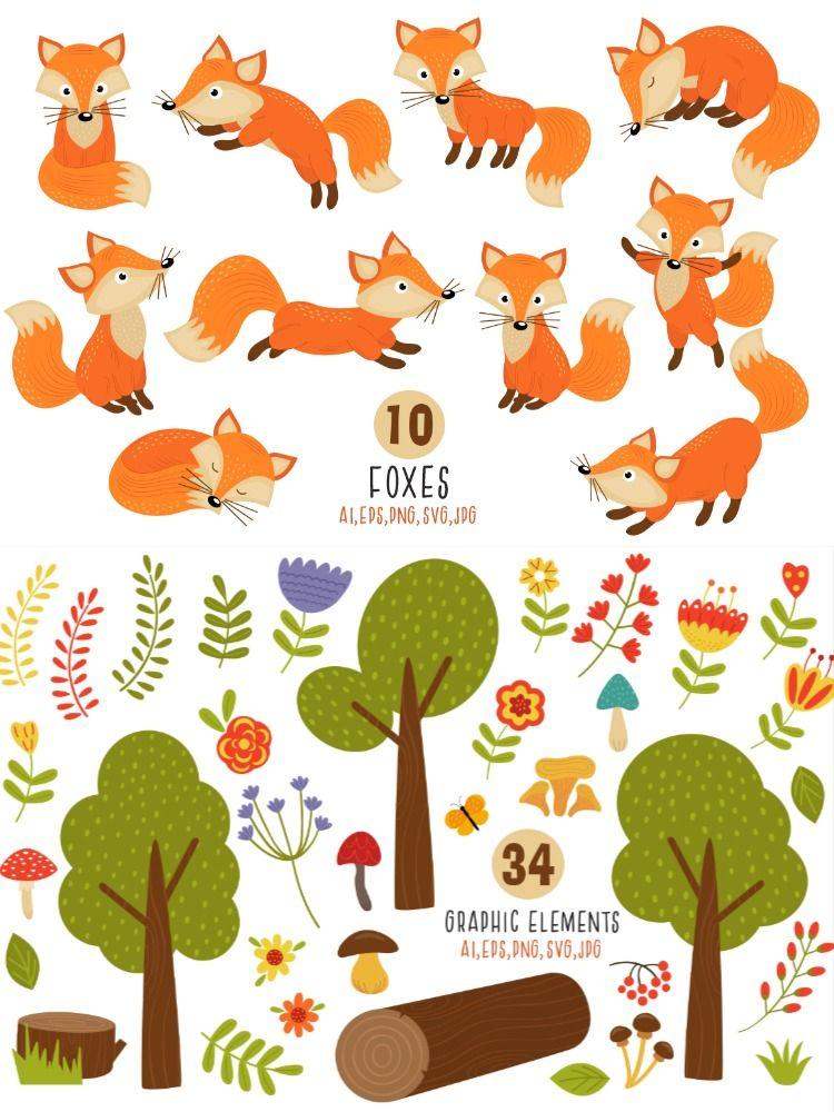 Fox Svg Fox Clipart Forest Clipart Woodland Nursery Tree Etsy Woodland Nursery Clip Art Printable Art