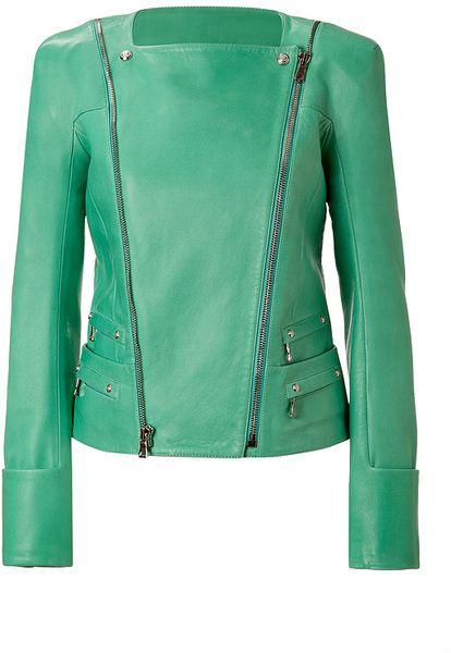 Balmain Green Mint Lambskin Biker Jacket