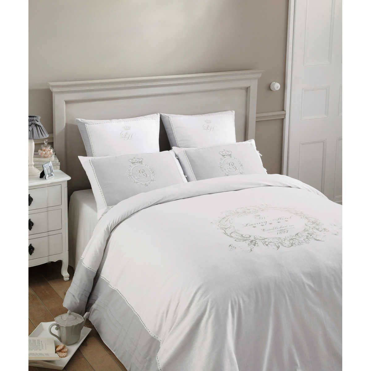 parure de lit 220 x 240 cm en coton blanche luxury. Black Bedroom Furniture Sets. Home Design Ideas