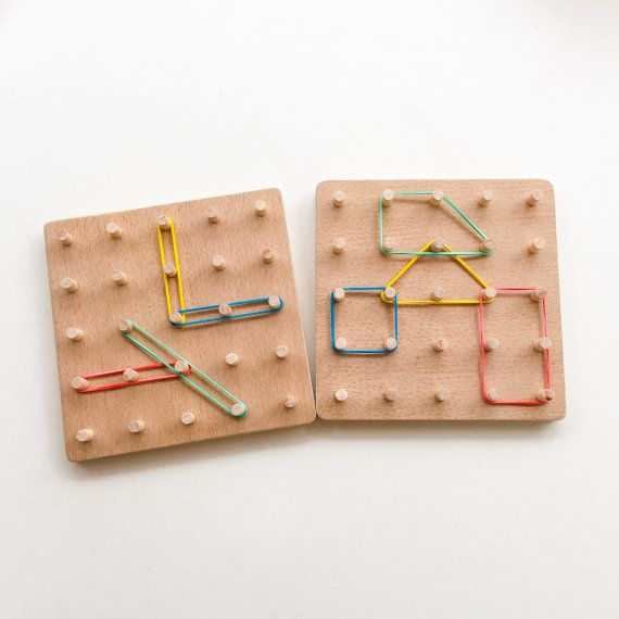 Wooden Toys For Pre School : Wooden geo board montessori inspired toddler toy