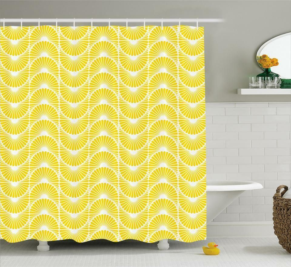 Details About White And Yellow Pattern Shower Curtain Fabric Decor Set With Hooks 4 Sizes Fabric Decor Bathroom Decor Accessories Patterned Shower Curtain