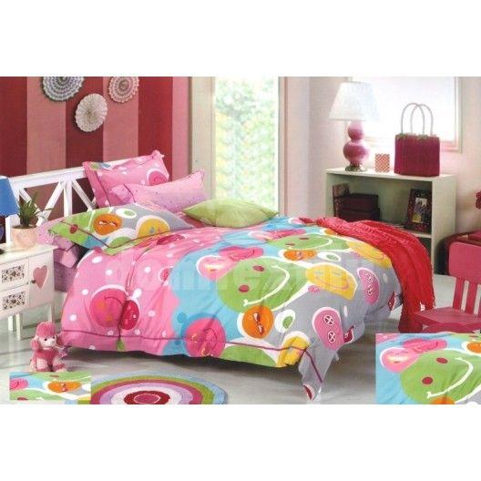 Ružovo - sivé obliečky na detskú posteľ so smajlíkmi